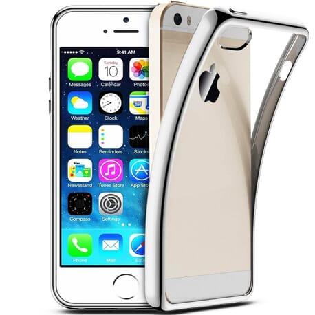 iPhone SE Hülle Chrome Plating Bumper Schutzhülle Schale Etui Bumper TPU Cover - Silber