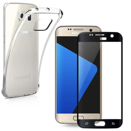 3D Panzerglas + Schutz Hülle Samsung Galaxy S7 Curve Tempered Glas Voll Displayschutz 9H Glas
