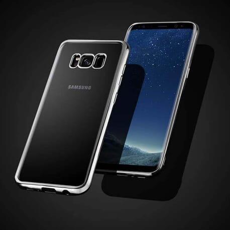 Hülle für Samsung Galaxy S8 Schutzhülle Luxury Case Bumper Etui Chrom Tasche Silber