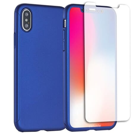 iPhone X Schutzhülle 360° Schutz Hülle + Panzerglas Full Cover Rückseite Vorderseite - Blau
