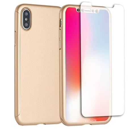 iPhone X Schutzhülle 360° Schutz Hülle + Panzerglas Full Cover Rückseite Vorderseite - Gold