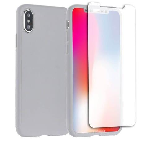 iPhone X Schutzhülle 360° Schutz Hülle + Panzerglas Full Cover Rückseite Vorderseite - Silber