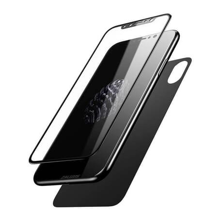 iPhone X Vorderseite + Rückseite Full Cover Schutz Glas Protector Curve Glas 5D Panzerglas - Schwarz