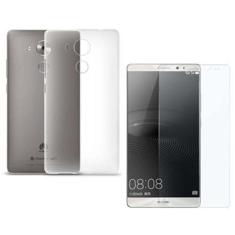 Panzerglas + Silikon Hülle für Huawei Mate 8 Schutz Hülle Case Tasche Klar