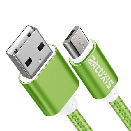 1,5m Micro USB Kabel Nylon Lightning Ladekabel Datenkabel Sync PC Handy Tablet - Grün