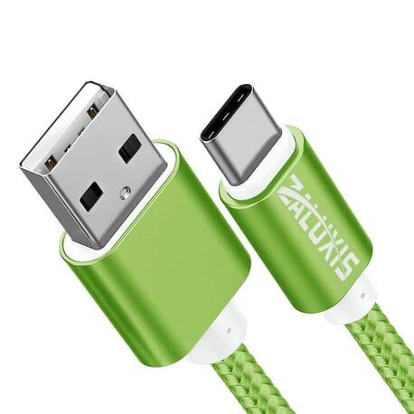 USB Typ-C Ladekabel Nylon Lightning Kabel Aluminum Typ Datenkabel Handy Sync - Grün