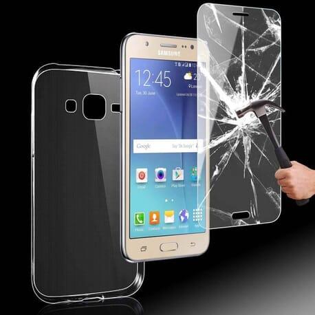 Silikon Hülle + Panzerglas für Samsung Galaxy J5 (2015) Komplette Schutz Displayglas Tasche Case Etui