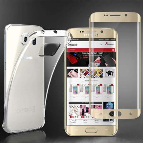 Samsung Galaxy S6 Edge+ Case Cover Klar Silikonhülle + 3D Curve Displayschutzfolie Gold