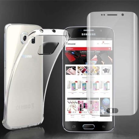 Samsung Galaxy S6 Edge+ Case Cover Klar Silikonhülle + 3D Curve Displayschutzfolie Klar