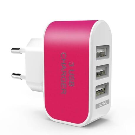 Netzteil Ladegerät Stecker 3.1A - 5V Adapter 3x USB Port mit blauem Licht Handy Tablet - Grün
