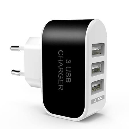 Netzteil Ladegerät Stecker 3.1A - 5V Adapter 3x USB Port mit blauem Licht Handy Tablet - Schwarz