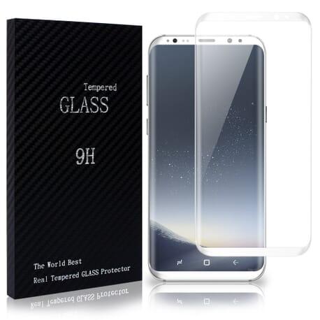 Samsung Galaxy S8 Plus 3D Panzerglas Full Display Schutz Curved Glas Weß