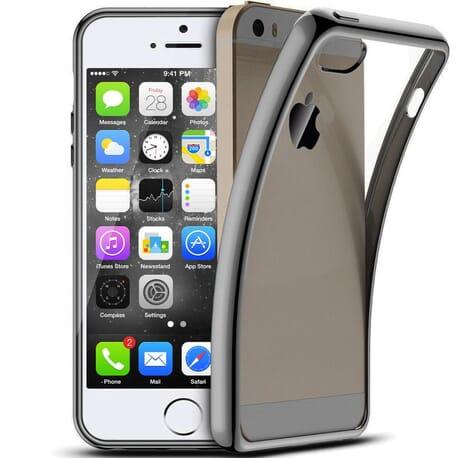 Luxury Schutzhülle für iPhone 5s / SE Silikon Hüllen Case Chrom Cover Platin Schwarz