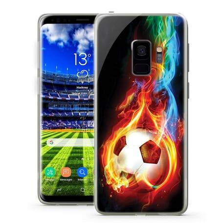 Handy Hüllen für Samsung Galaxy Fußball Feuer Effekt Design Case Motiv